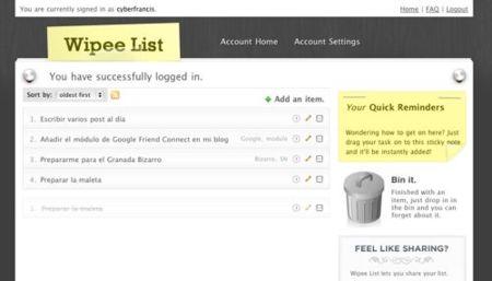 Wipee-list, sencillo y elegante servicio de To-Do list