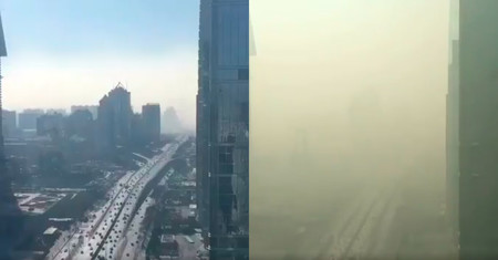 """Este asombroso time-lapse muestra cómo la """"nube"""" de contaminación se apodera de Pekín por la mañana"""