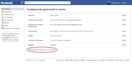 descargar una copia de datos en facebook