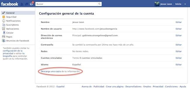 descargar una copia de datos en facebook