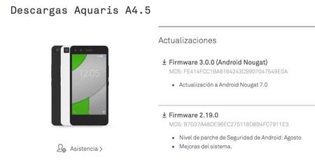 Aquaris A4 5 Nougat