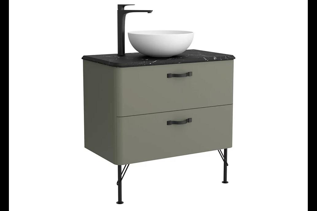 Mueble baño con lavabo Desire verde 80x45 cm