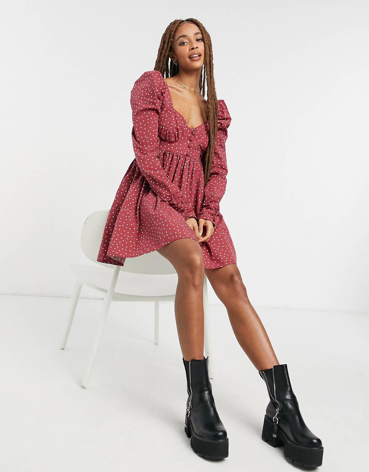Vestido corto de estilo babydoll con estampado de lunares de algodón de ASOS DESIGN