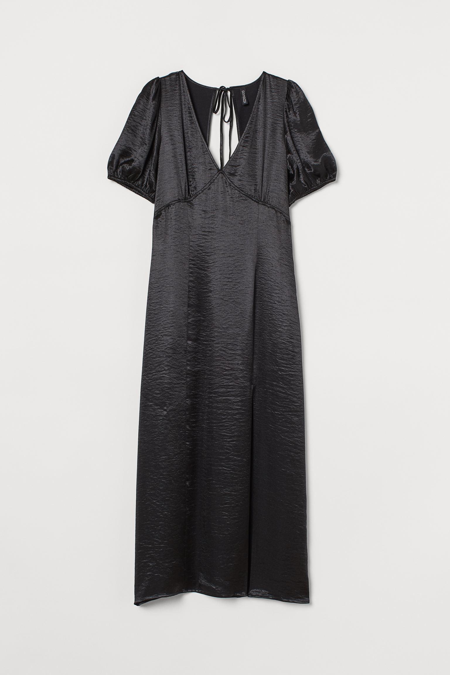Vestido midi satinado con escote de pico y espalda abierta