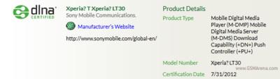Sony Xperia LT30 Mint recibe la certificación DLNA confirmando que se llamará Xperia T