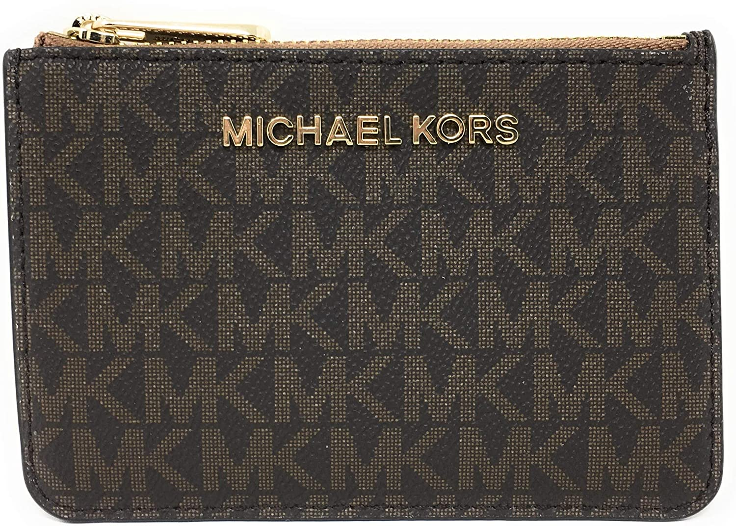 Michael Kors Jet Set Travel Small Top Zip Coin Pouch with ID Holder - PVC Coated Twill (Brown & Acorn)