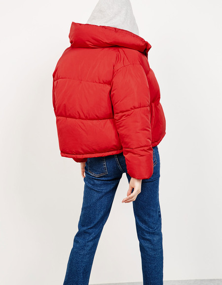bershka puffer jacket red