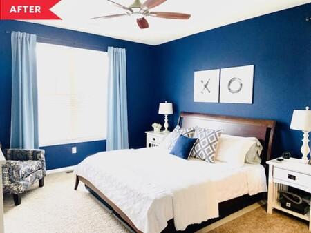 Antes y después: un dormitorio en azul y blanco, que renueva pintura y complementos textiles