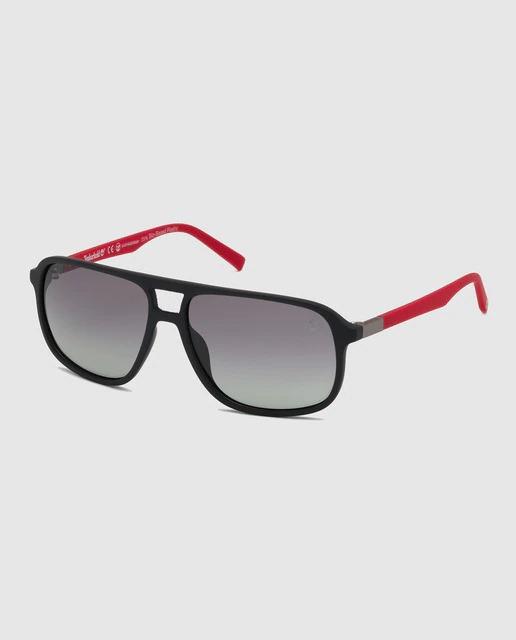 Gafas de sol de hombre Timberland rectangulares en negro con lentes