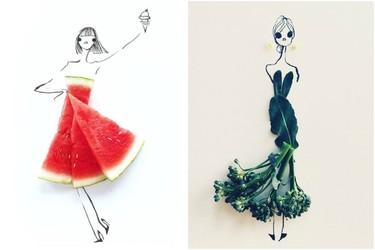 Gretchen Roehrs y sus propuestas fashion de moda con frutas y verduras
