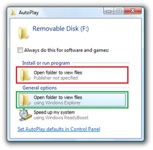 Windows 7 desactiva AutoPlay en discos USB