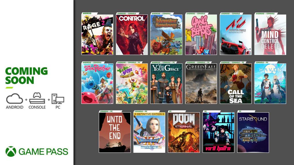 Control, DOOM Eternal y Rage 2 se unirán en diciembre al servicio de suscripción de Xbox Game Pass, entre otros juegos