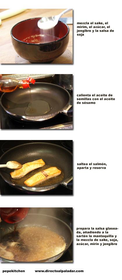 salmón glaseado pasos