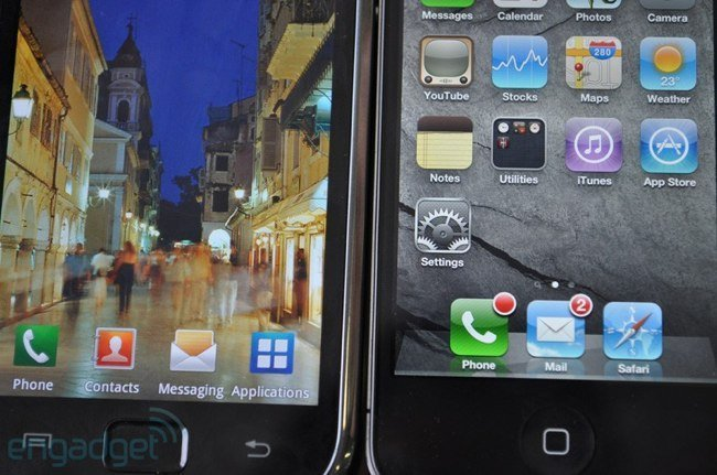 Samsung S Galaxy frente a iPhone 4