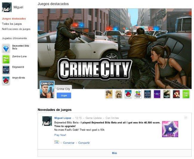 google plus seccion juegos