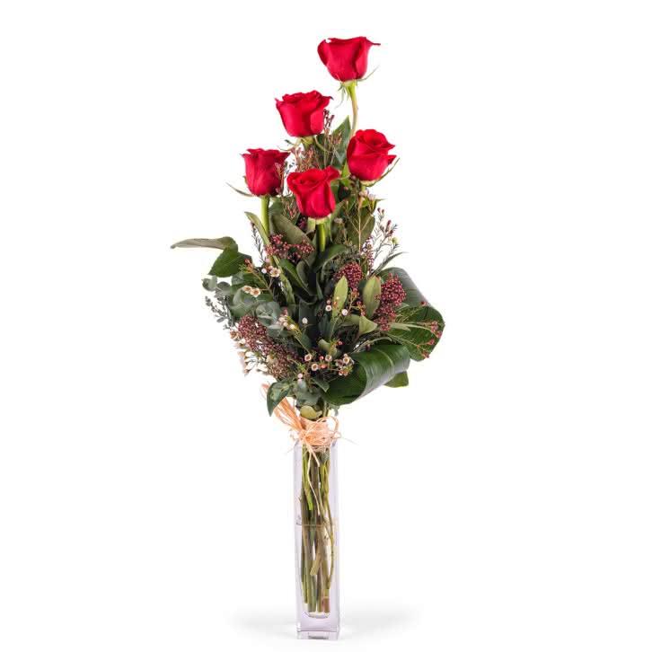 5 Rosas Rojas de Tallo Largo