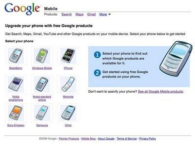 Nueva página de los servicios de Google móvil