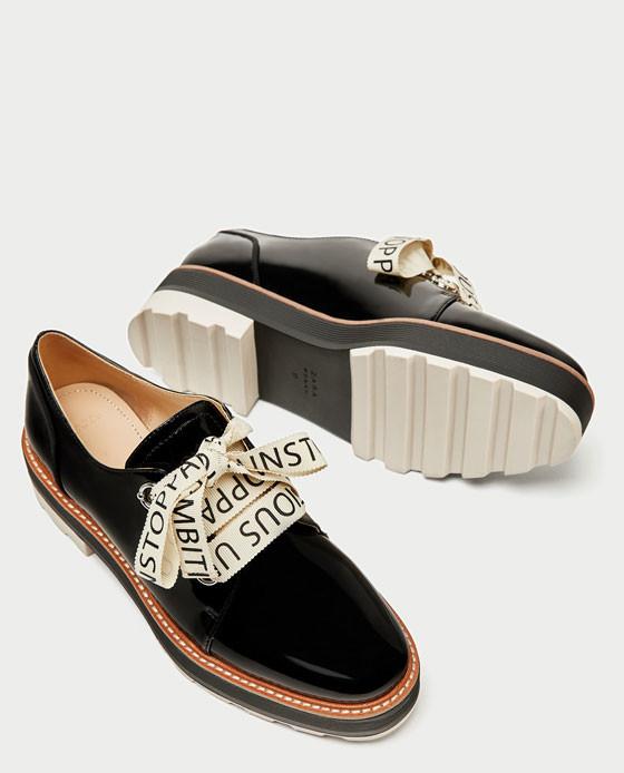 zapatos zara negros total black planos blucher