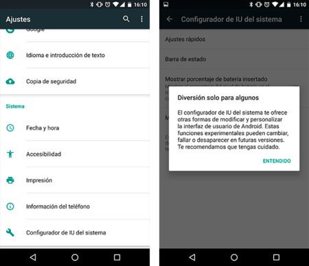Cómo activar el menú oculto que hay en la barra de notificaciones en Android Marshmallow 6.0