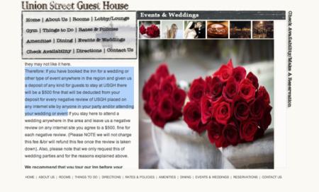 Un hotel cobra 500 dólares a los que celebren una boda por cada review negativa que reciban