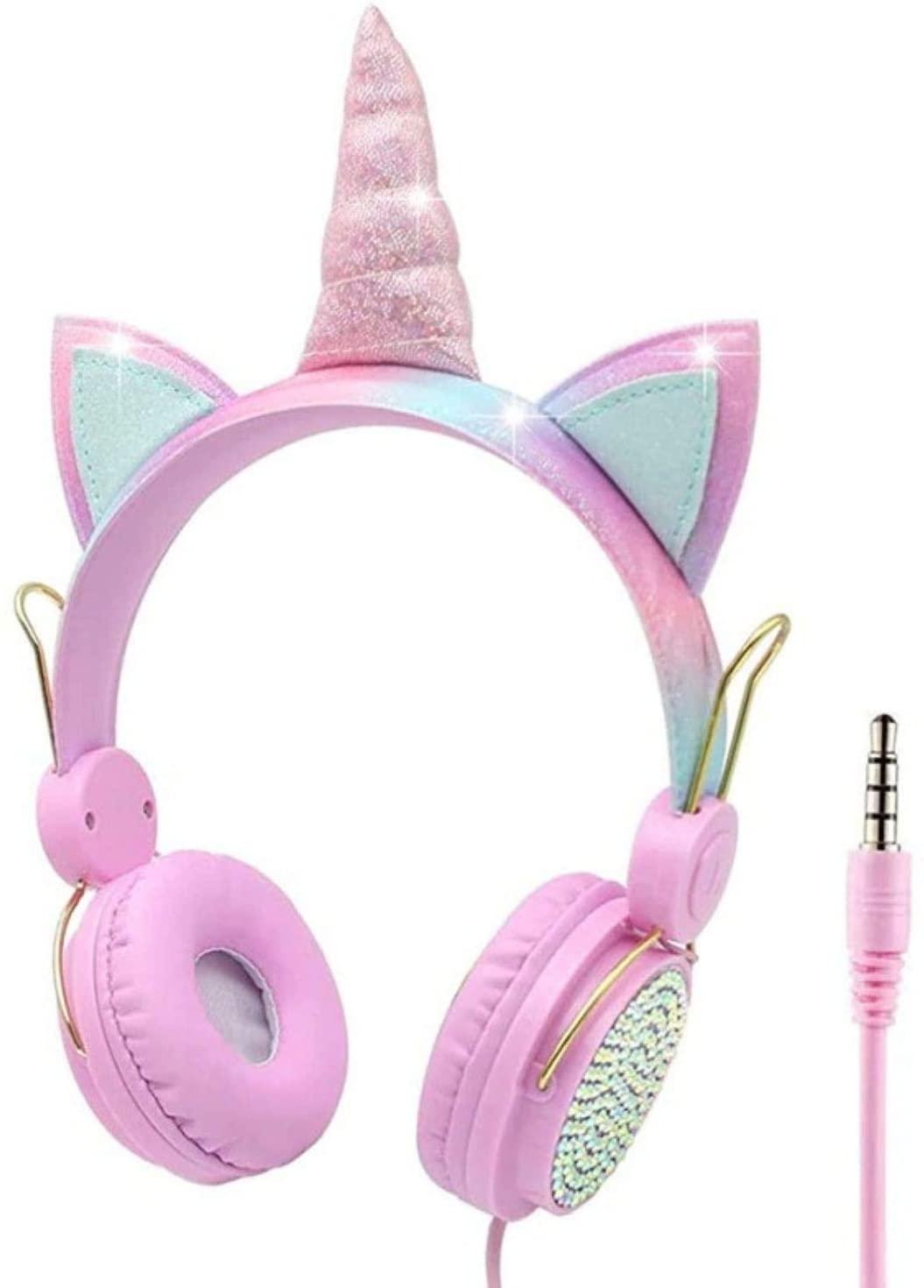 Honey Molly Audífonos De Unicornio para Niñas - con Cable Entrada 3.5 mm con Micrófono