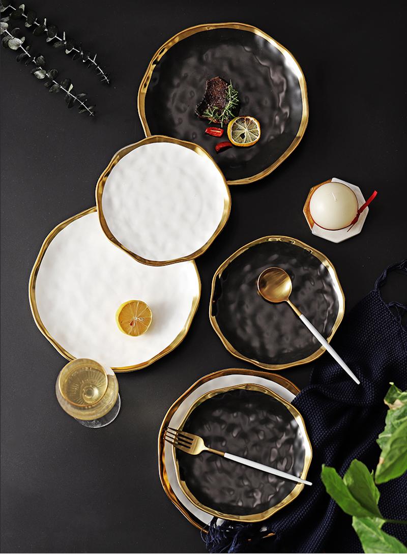 Plato de cena de cerámica, platos de bocadillos de oro, juego de vajilla con bordes dorados de lujo, plato de cocina, bandeja blanca y negra