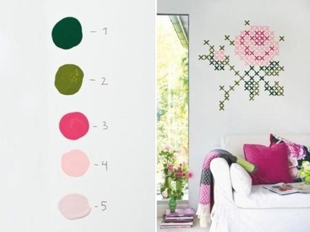 Si te gusta el punto de cruz adorarás ver este mural pintado en tu pared