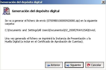 Depósito de Cuentas 2008: generación de fichero digital