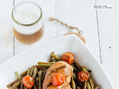 Pollo en reducción de balsámico y verduras. Receta