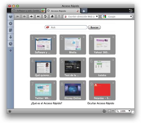 El diseño de Opera en Mac