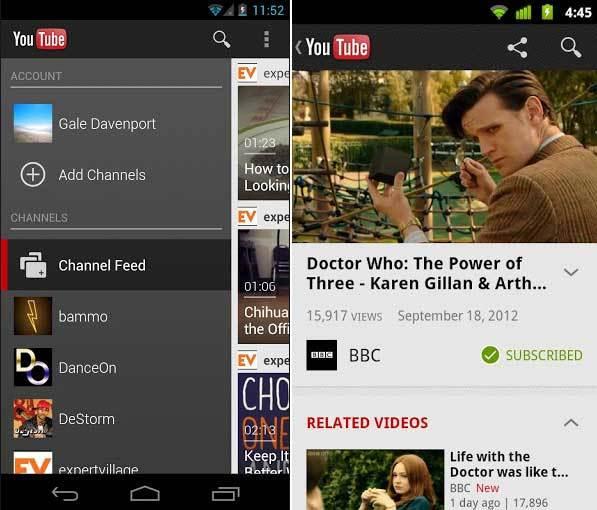 Nueva versión de YouTube para Android