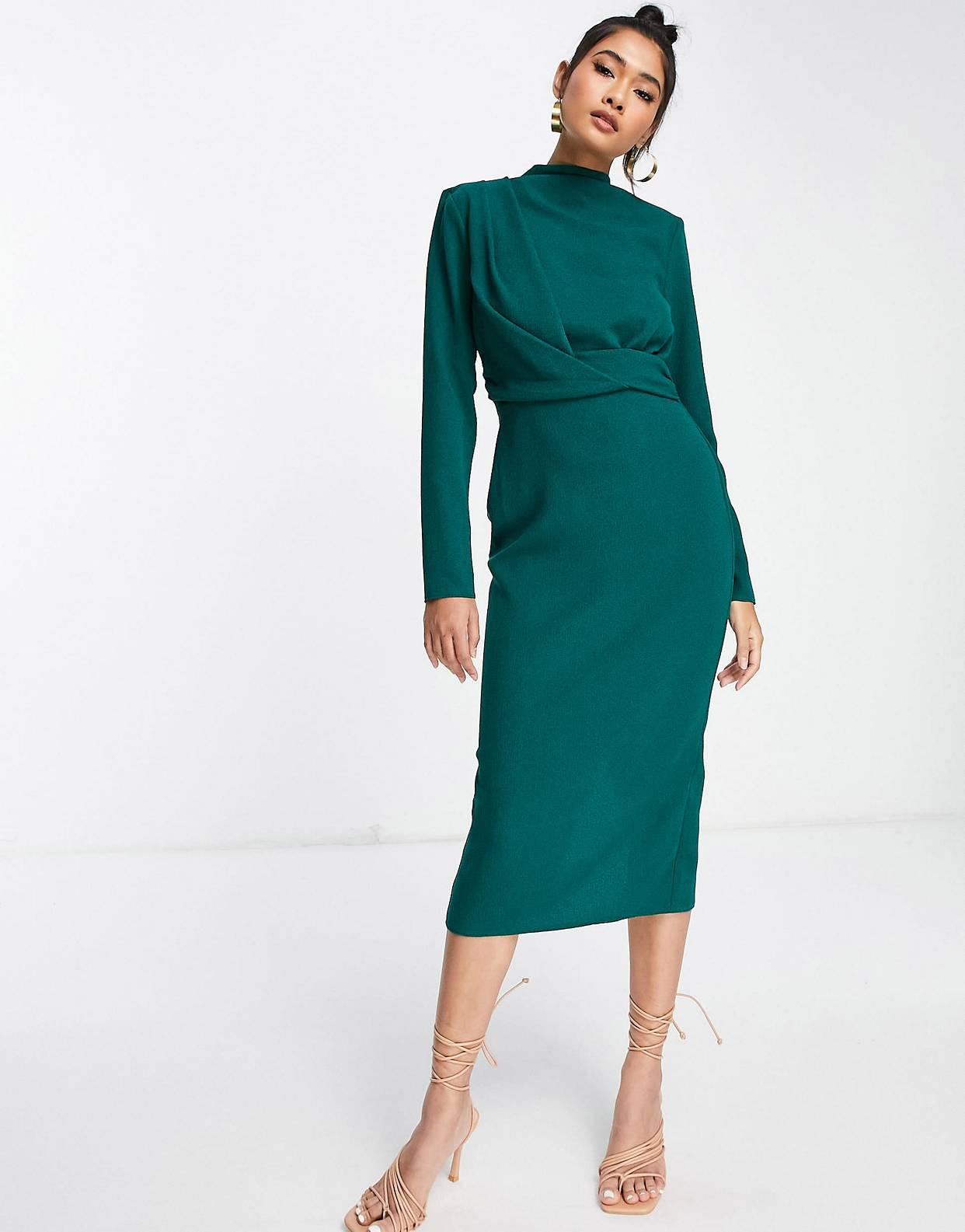 Vestido midi verde bosque de cuello alto con hombreras y diseño retorcido en la parte delantera de ASOS DESIGN