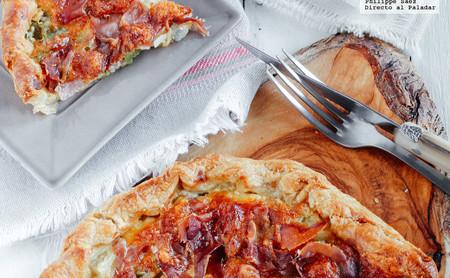 Tarta salada de jamón serrano y mozzarella. Receta fácil para la cena