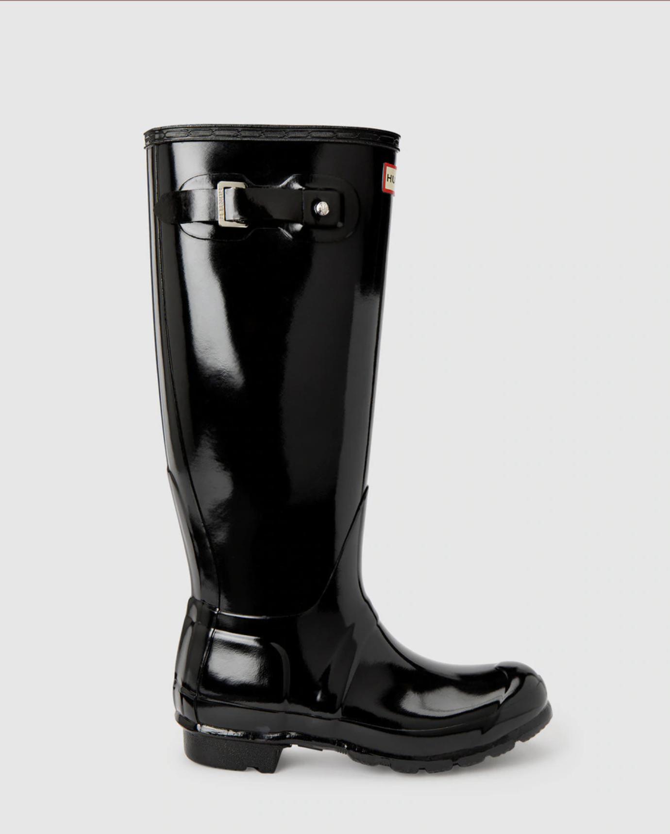 Botas de agua de mujer Hunter de color negro con acabado gloss