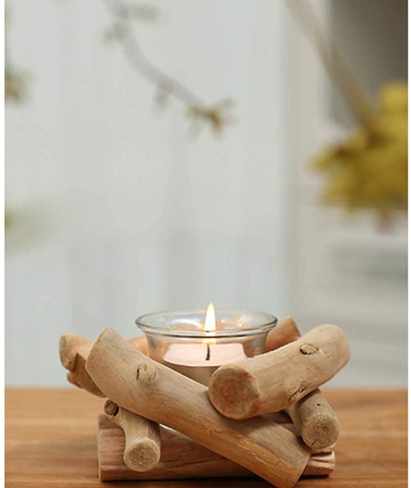 SUPVOX - Portavelas de madera natural flotada con soporte para vela y taza de cristal