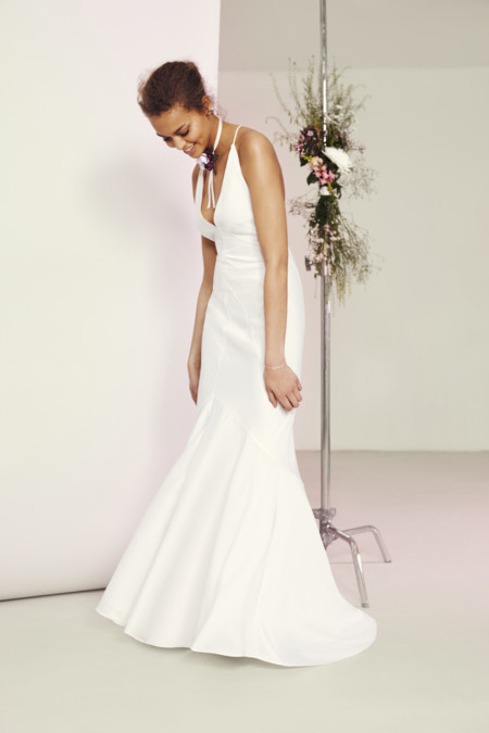 Asos Bridal Deep Plunge Strappy Fishtail Maxi Dress U95