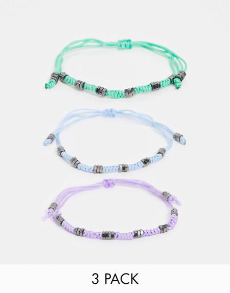 Asos Design Slim 4mm Cord Bracelet Pack In Pastel Colours