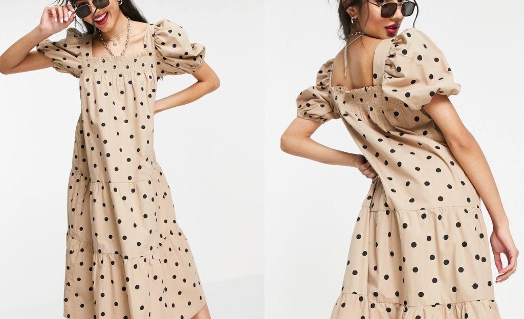 Vestido midi color piedra con estampado de lunares y mangas abullonadas de popelina de algodón de Influence