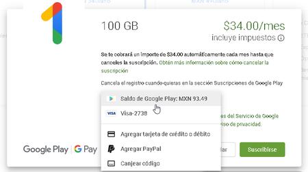 Comprar Espacio Google One