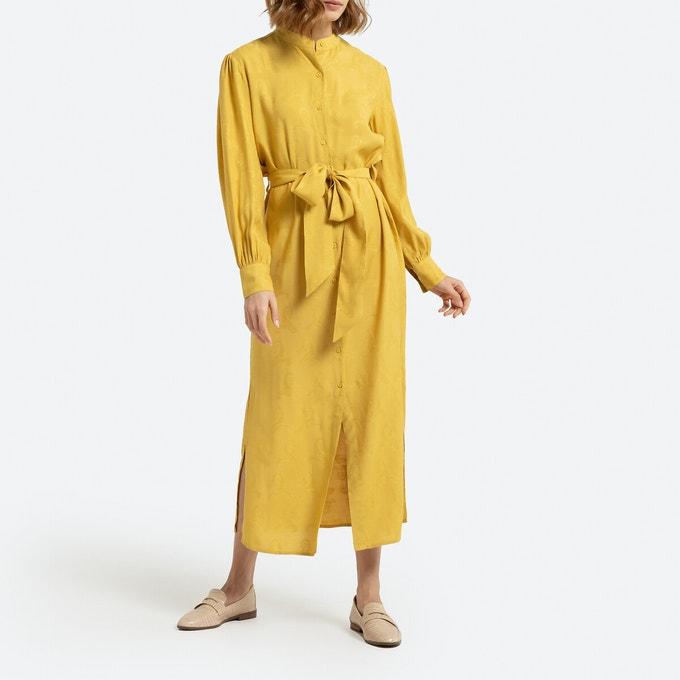 Vestido camisero largo de manga larga