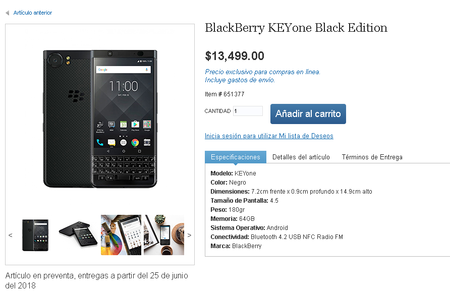 Blackberry Keyone Baclk Edition Mexico Precio
