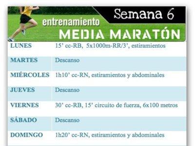 Entrenamiento media maratón: Semana 6