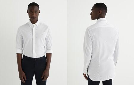 Camisa De Hombre Slim De Punto Estampada Blanca 2