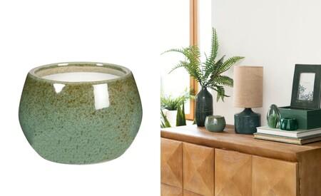 Vela Perfumada En Tarro De Ceramica Verde