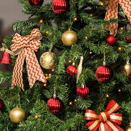 Pack Bolas De Arbol De Navidad 65 Piezas En Colores Rojo Y Dorado