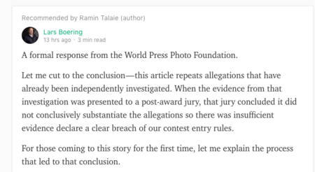 Sección de la contestación de Lars Boering al artículo de Ramin Talaie.