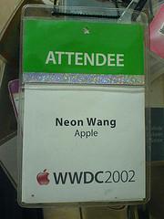 Colección de imágenes de pases para las conferencias Apple desde 1995 hasta 2002