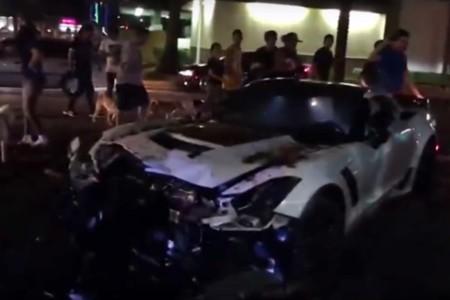 Este pobre e impresionante Corvette C7 Z06 pagó los pecados de su dueño