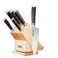 Cupón de 38% de descuento en el juego de cinco cuchillos de cocina con taco Deik: nos sale por 32,98 euros en Amazon