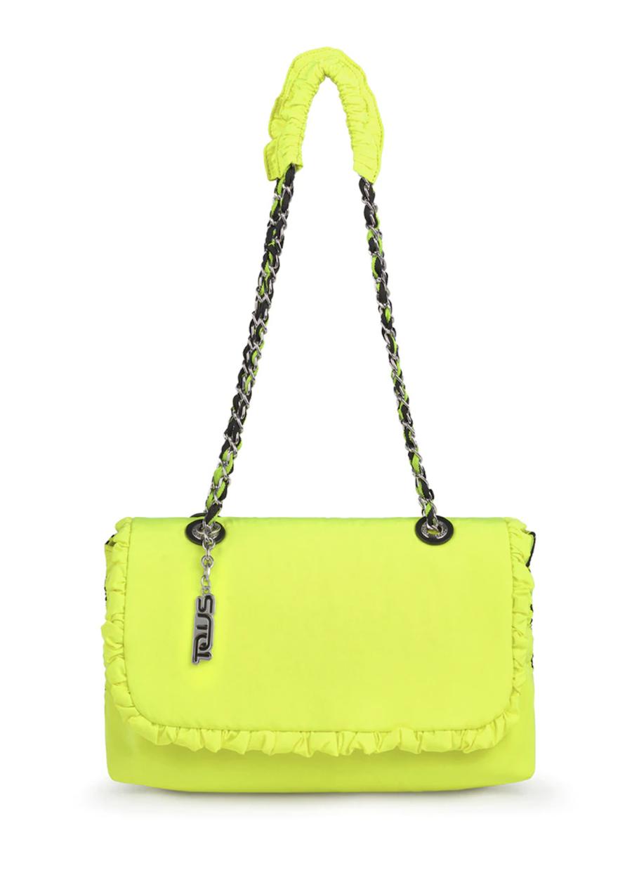 Bandolera mini de mujer Tous Lux en amarillo flúor con detalle de volantes